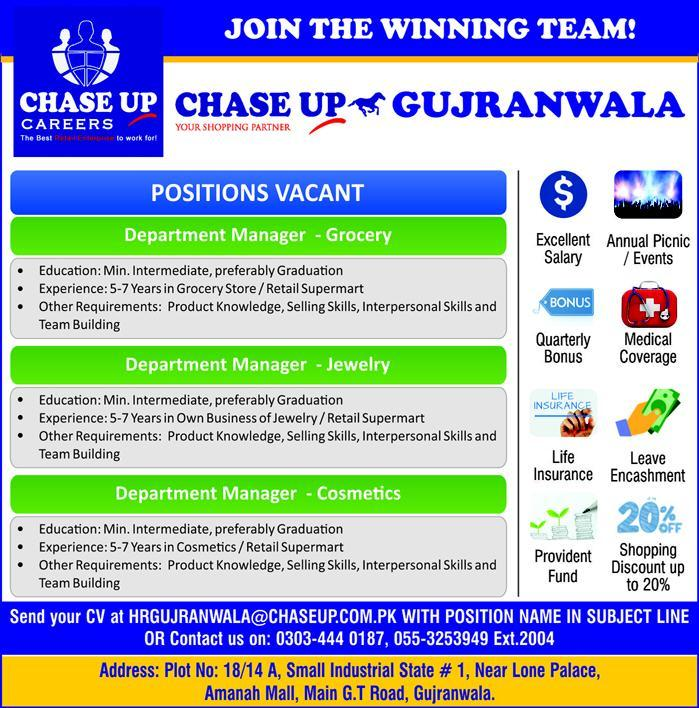 Chase Up Careers Gujranwala Jobs 2019
