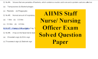 AIIMS Nursing Officer Solved Question paper