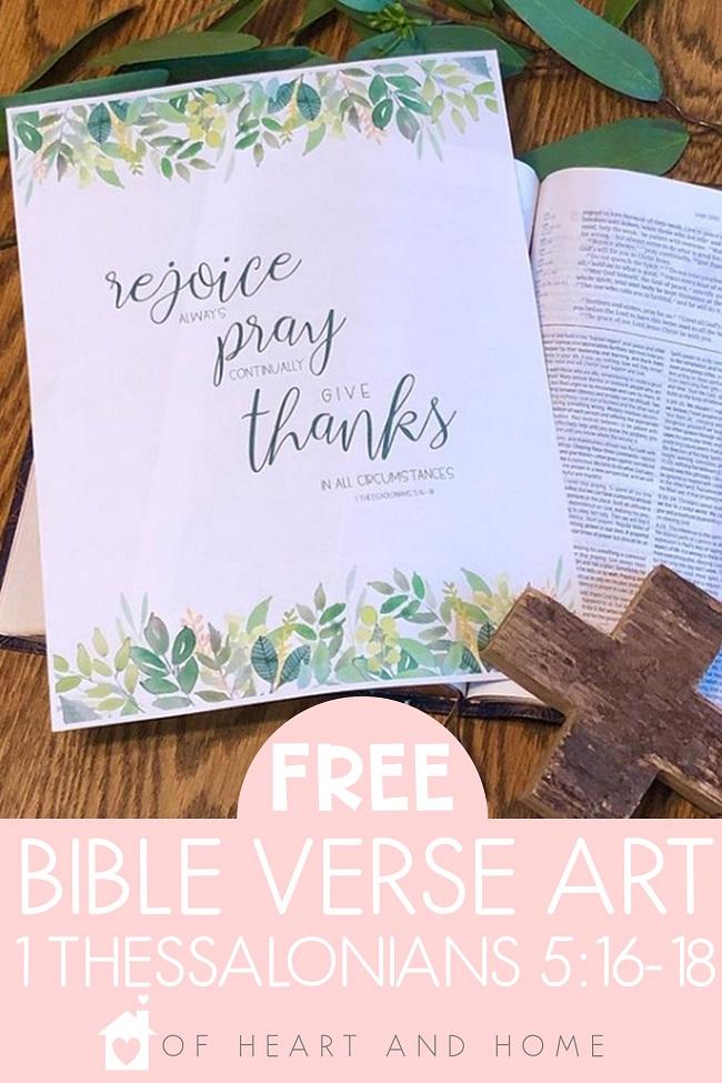 FREE Bible Verse Printables | Free Printable Bible Verse Art 1 Thessalonians 5: 16-18