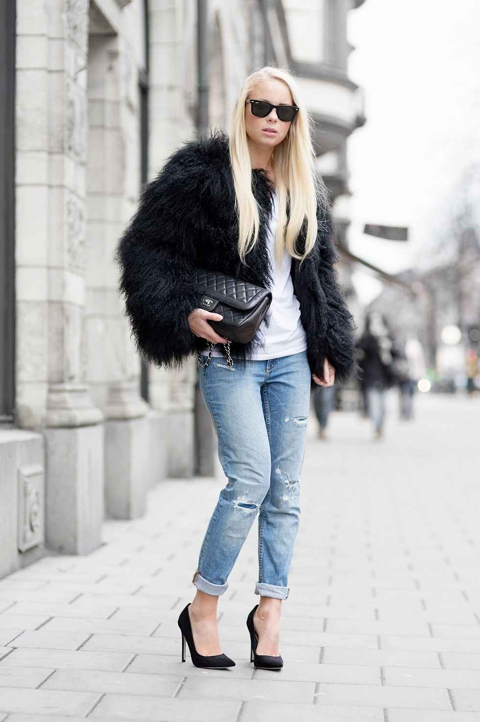 600d7b404f5a Ingrid Holm is wearing a white shaggy jacket from Lindex. Victoria  Tornegren is wearing a black faux fur outfit from Portable . Fluffy Trend  ...