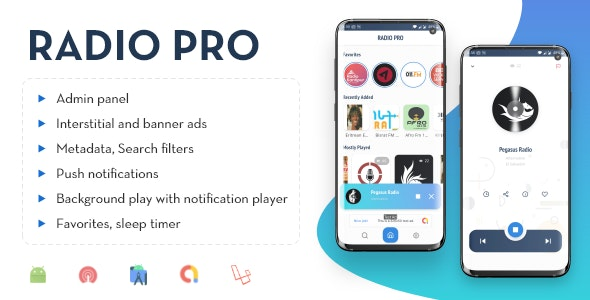 Radio Pro v2.0 - Multi-station Radio App with Admin Panel
