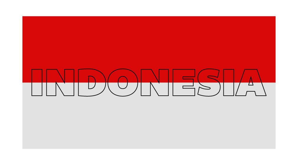 Tulisan INDONESIA diatas shape Bendera