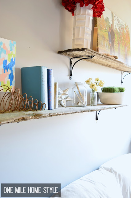 Add fantastic farmhouse style with reclaimed barnwood shelves and simple brackets- One Mile Home Style