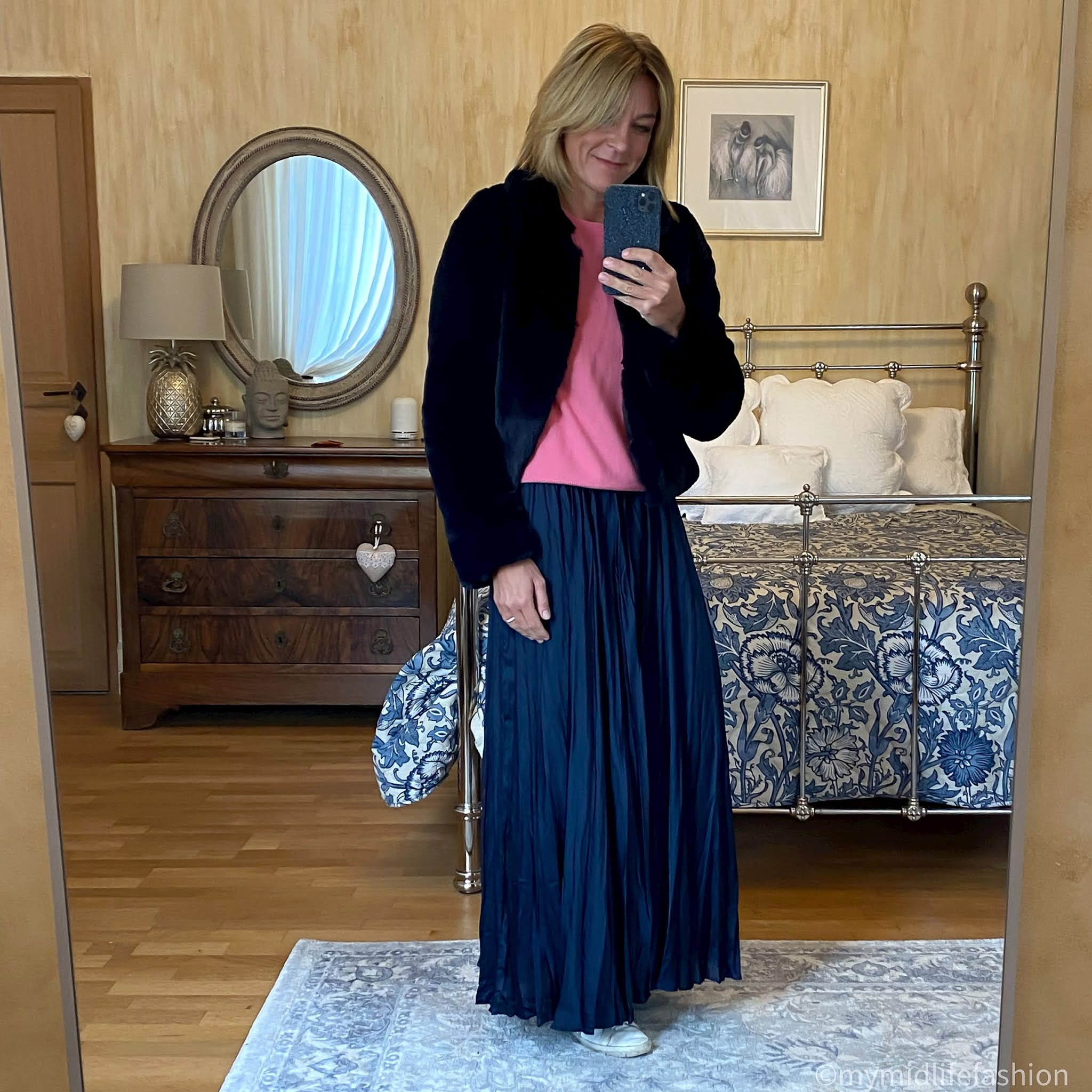 my midlife fashion, Helen Moore collar jacket, marks and Spencer pure cashmere round neck jumper, zara satin maxi skirt, golden goose superstar low top leather trainers