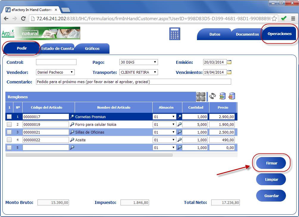 In Hand Customer: Carga de un nuevo pedido - Productos Web de eFactory para Móviles y Tabletas