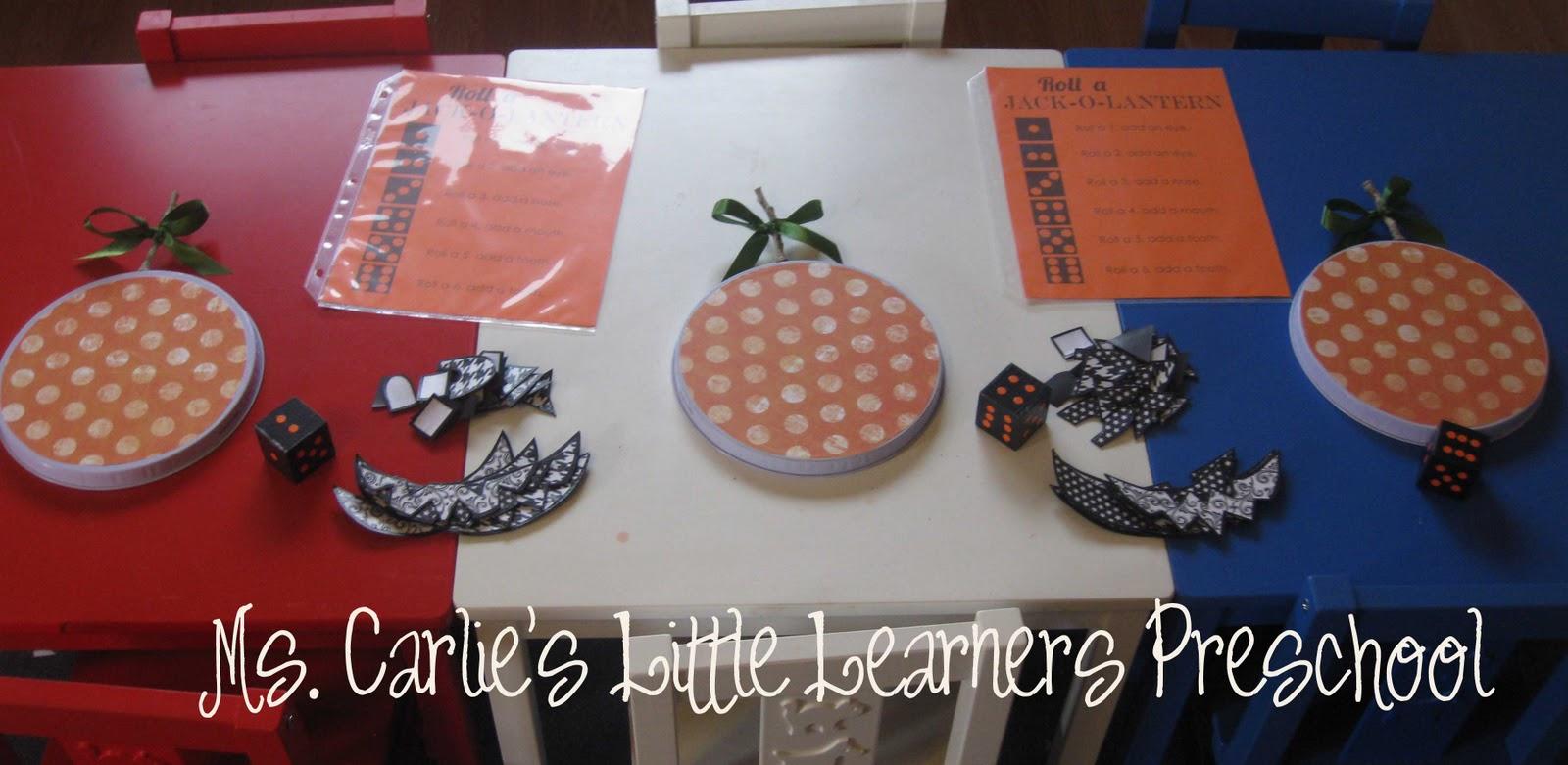 Ms Carlie S Little Learners Preschool Halloween Activity Roll A Jack O Lantern