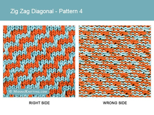 Mosaic Knitting - 2 Color Knitting Stitch Pattern. Right side vs wrong side of the Zig Zag Diagonal stitch - Pattern 4