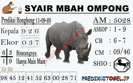 Syair Mbah Ompong HK Jumat