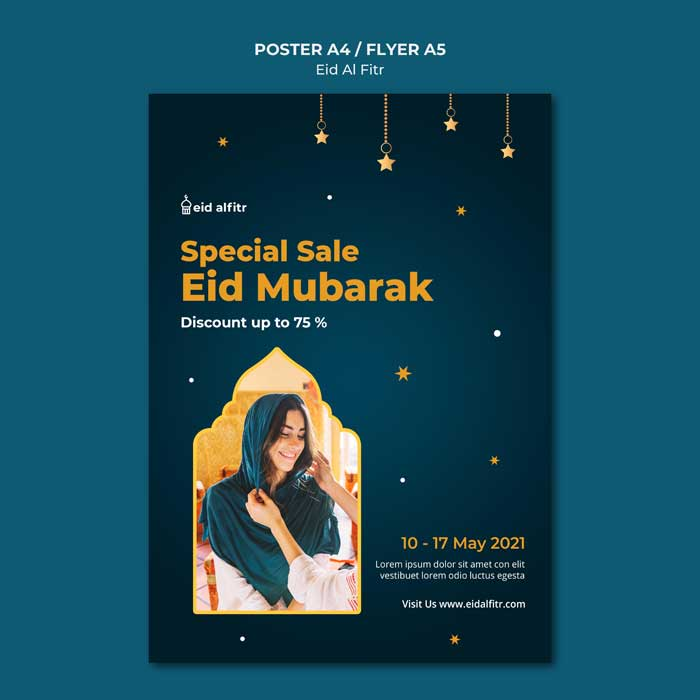 Eid Al Fitr Print Template With Photo