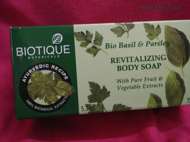 Biotique | Bio Peach Peel-off Mask | Bio Basil & Parsley Body Soap | Review 5