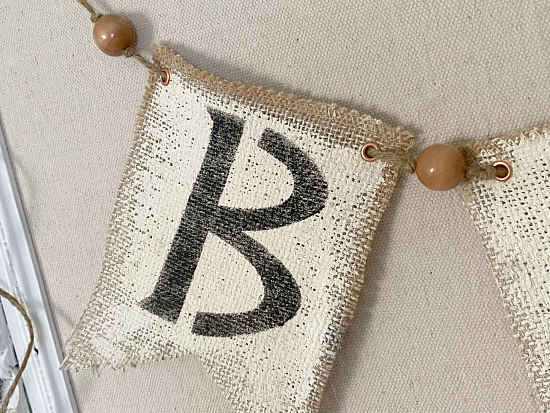 burlap stenciled B with beads
