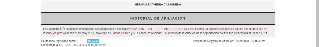 Captura del ROP sobre situación de Hernán Saavedra