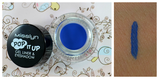 "Misslyn summer pop art LE pop it up gel liner & eyeshadow ""blue eyes wide open"" Swatch"