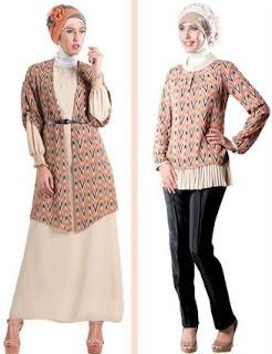Model baju batik modern kombinasi modis
