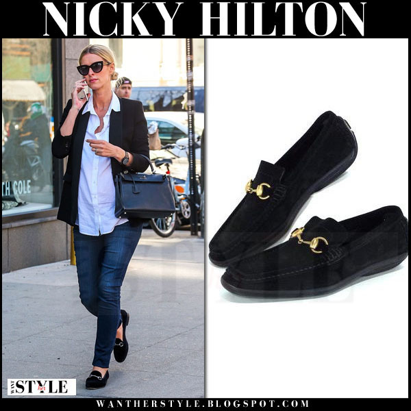 Nicky Hilton in black suede horsebit detail Gucci loafers what she wore streetstyle