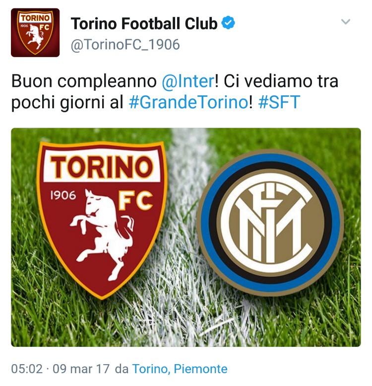Gli auguri del Torino all'Inter