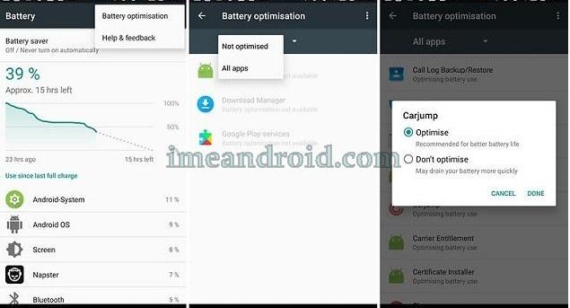 cara optmasi baterai android versi Nougat