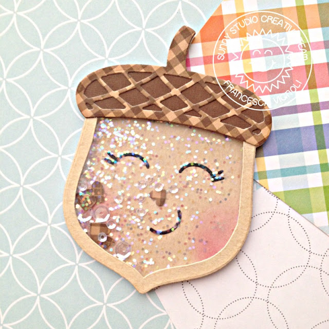 Sunny Studio Stamps: Nutty For You Fall Themed Shaker Card by Franci Vignoli