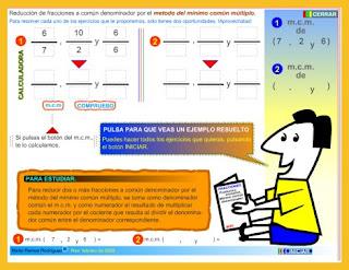 http://www3.gobiernodecanarias.org/medusa/eltanquematematico/todo_mate/fracciones_e/ejercicios/fracciones_mcm_p.html