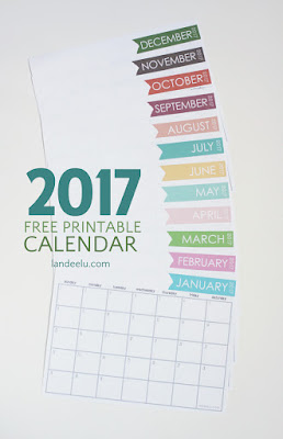 free printable 2017 horizontal calendar