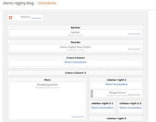 blogregény demo elrendezés