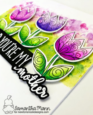 Glad You're My Mother Card by Samantha Mann for Newton's Nook Designs, Mother's Day, Cards, Card Making, Watercolor, Tulips #newtonsnook #mothersday #cards #tulips #watercolor