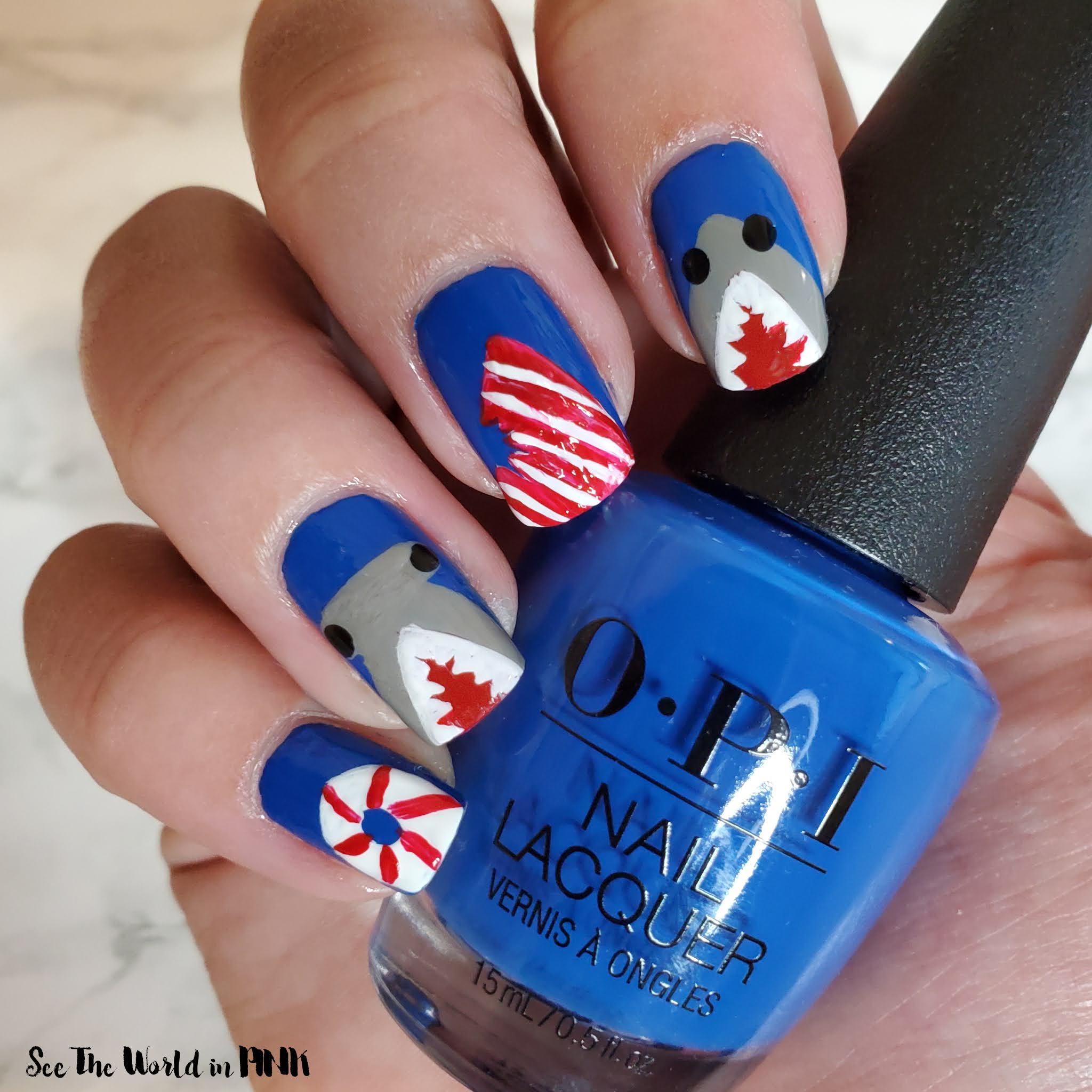 Manicure Monday - Shark Week Nails