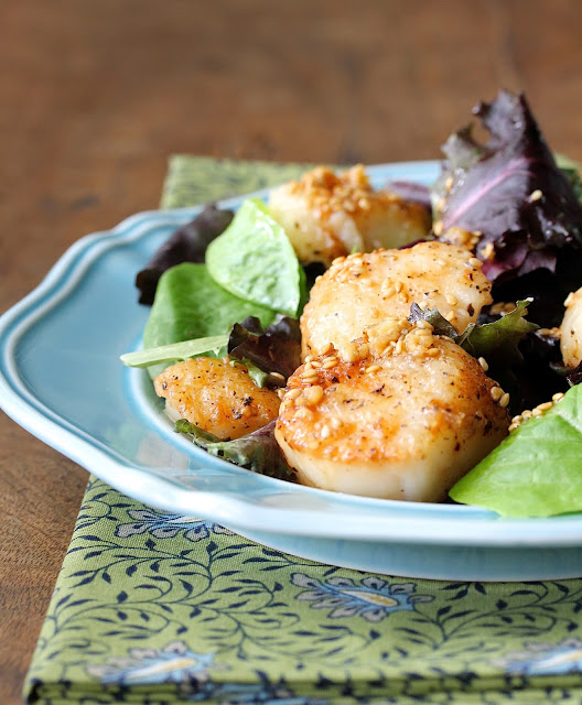 Seared Scallop Salad with Toasted Sesame Seed Ginger Vinaigrette