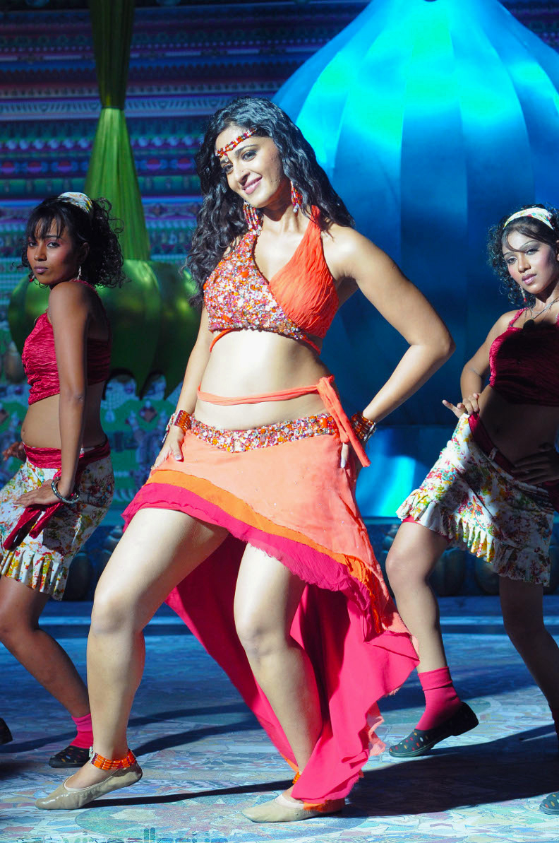 Anushka Shetty Looks super cute in orange Choli in a Dance Song