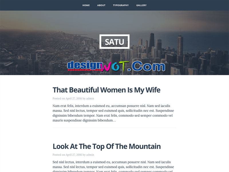 Satu One column WordPress Theme