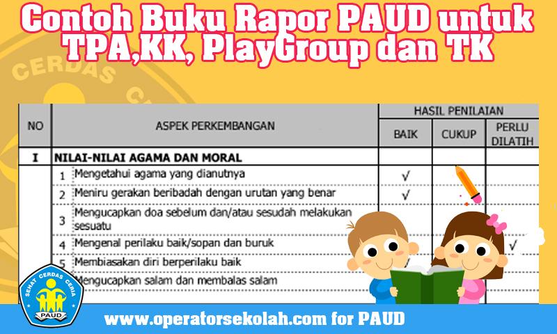 Contoh Buku Rapor PAUD untuk TPA,KK, PlayGroup dan TK