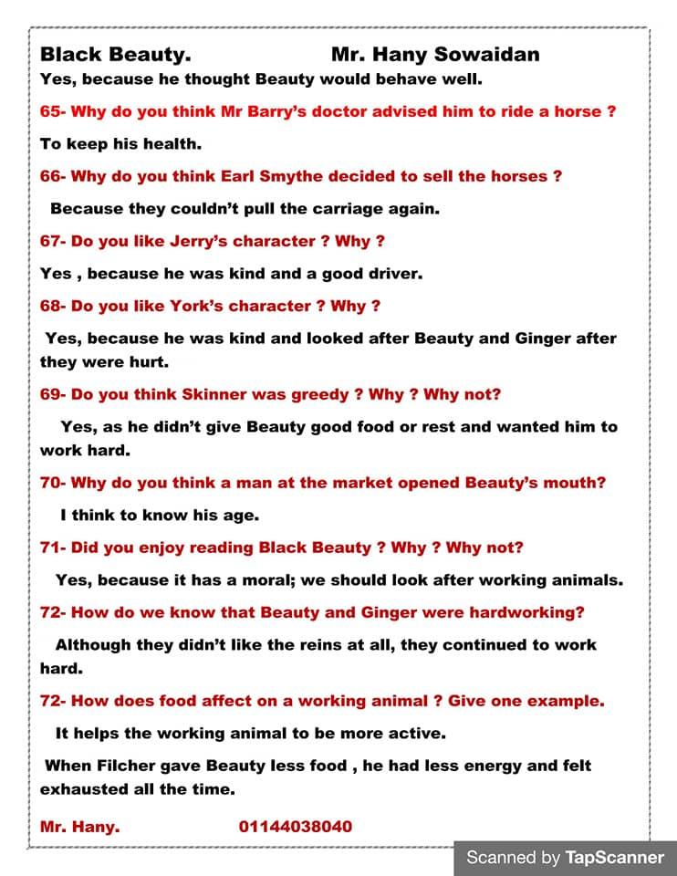 مراجعه أسئلة قصه اللغه الانجليزيه للصف الثالث الاعدادي ترم ثاني  مستر/ هاني سويدان 9