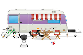 Clipart Image of an Recreational Vehicle With a Bicycle, Table and Chairs and Barbecue in Front of It