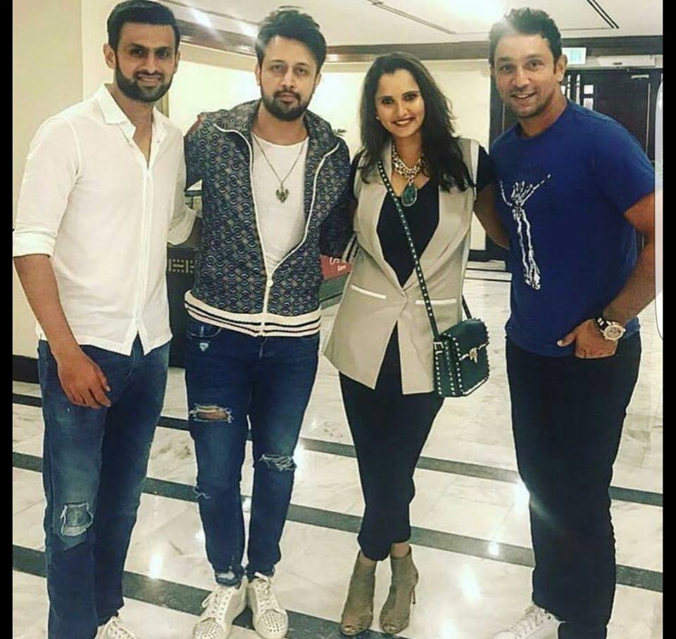 Shoaib Malik, Atif Aslam , Sania Mirza and Azher Mehmood spotted in Lahore after Match .