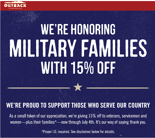 Outback Deal for Military Families