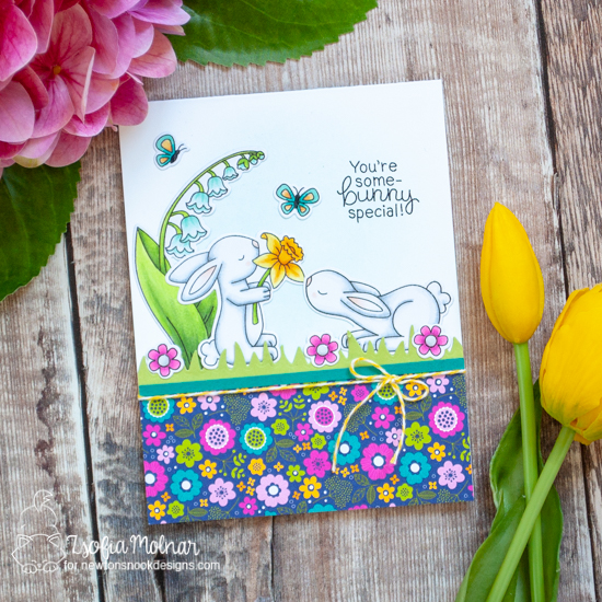 You're Some-bunny Special Card by Zsofia Molnar | Bitty Bunnies Stamp Set, Hop Into Spring Stamp Set, and Little Lilies Stamp Set by Newton's Nook Designs #newtonsnook #handmade