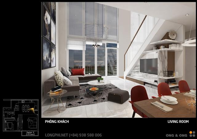 Phối cảnh nội thất phòng khách căn hộ thông tầng duplex the View - Riviera Point quận 7.