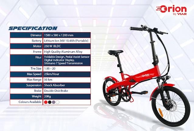 Intip Nih Spesifiasi Viar Orion, Sepeda Lipat Listrik Baru