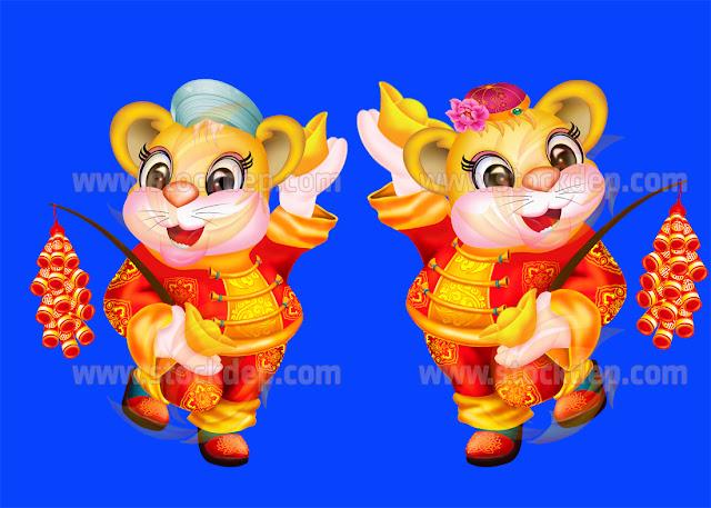 Cặp Hổ vàng cầm đĩnh vàng pháo tết mừng xuân 2022