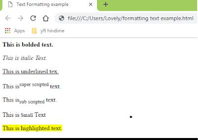 HTML Tutorial In Hindi, HTML TUTORIAL: FORMATTING TAG
