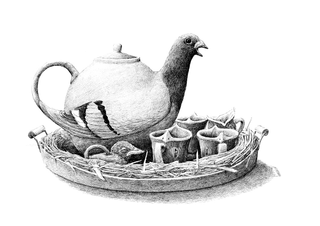 06-Pigeon-Tea-Set-Redmer-Hoekstra-Drawing-Fantastic-and-Surreal-World-of-Hoekstra-www-designstack-co
