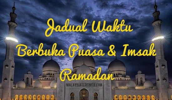 jadual waktu berbuka puasa dan imsak Melaka 2019