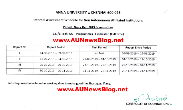 Anna University Internal Assessment Schedule for First Sem Nov Dec 2019