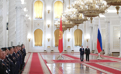 Official welcome ceremony for President of Kyrgyzstan Almazbek Atambayev.
