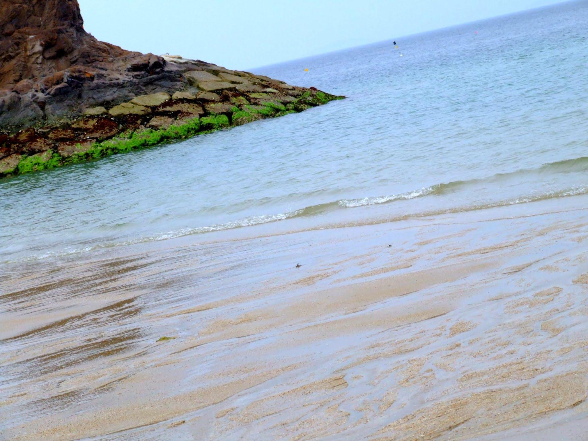 砂浜と海の写真素材です。夏に向けてのブログカードやアイキャッチなどにいかがでしょうか。