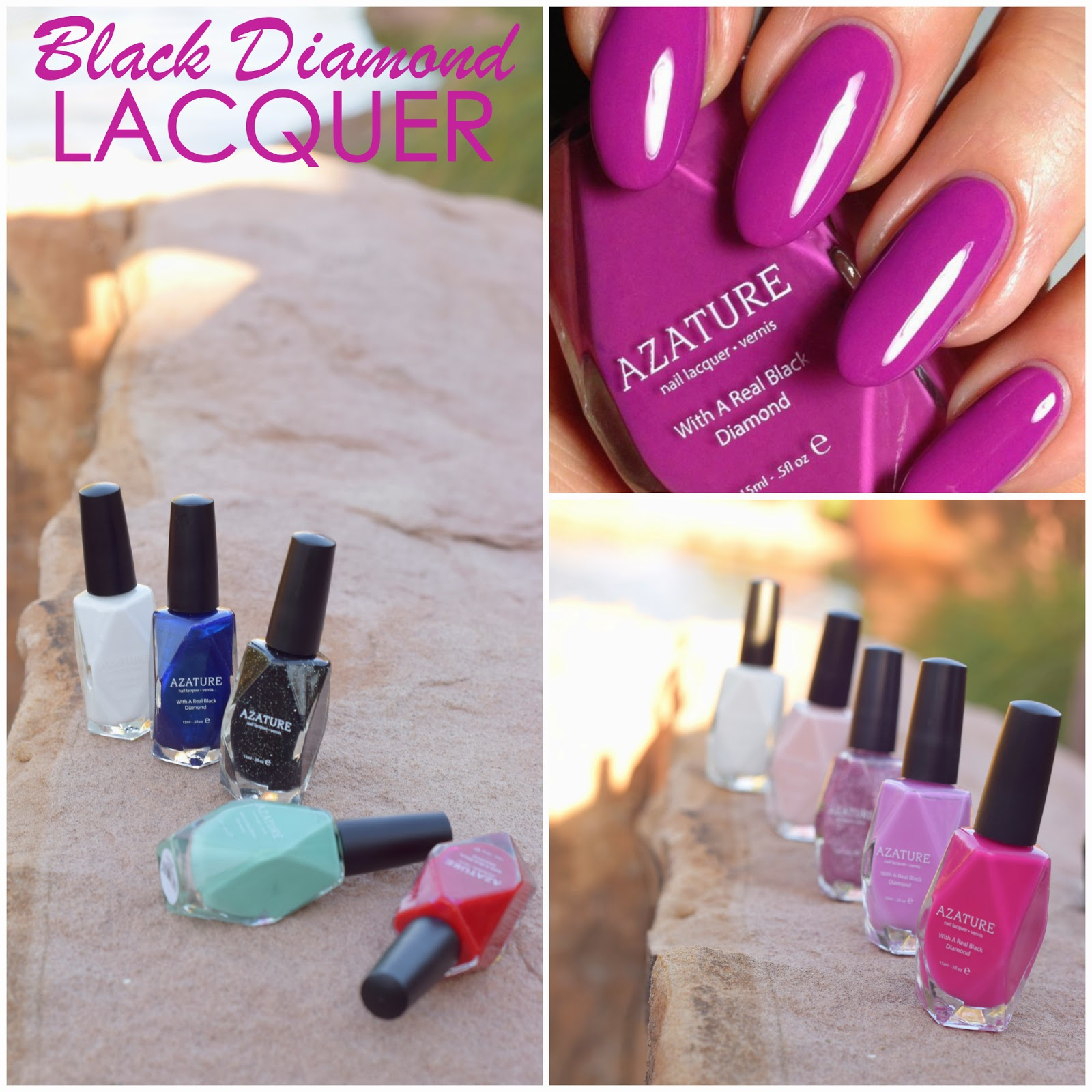 Azature Black Diamond nail lacquer, luxury nail polish, expensive nail polish, designer nail color