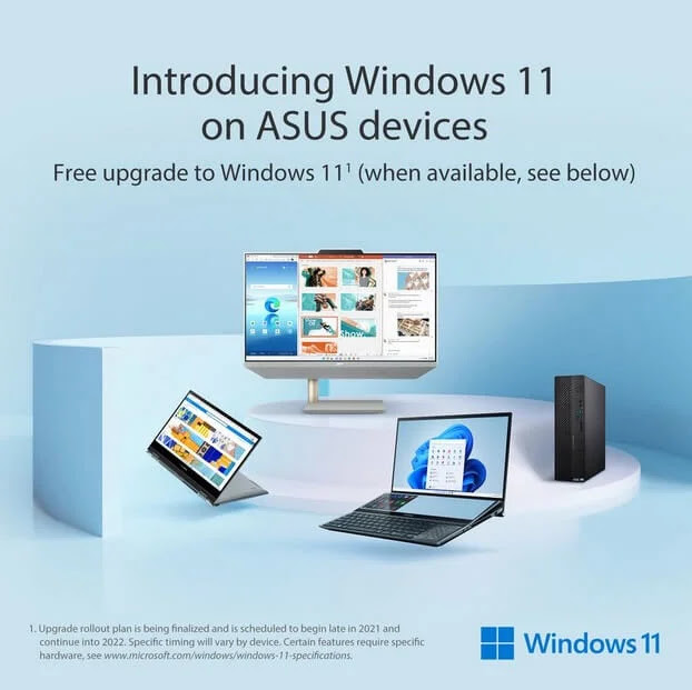 ASUS Announces Windows 11 Free Upgrade for Compatible Devices