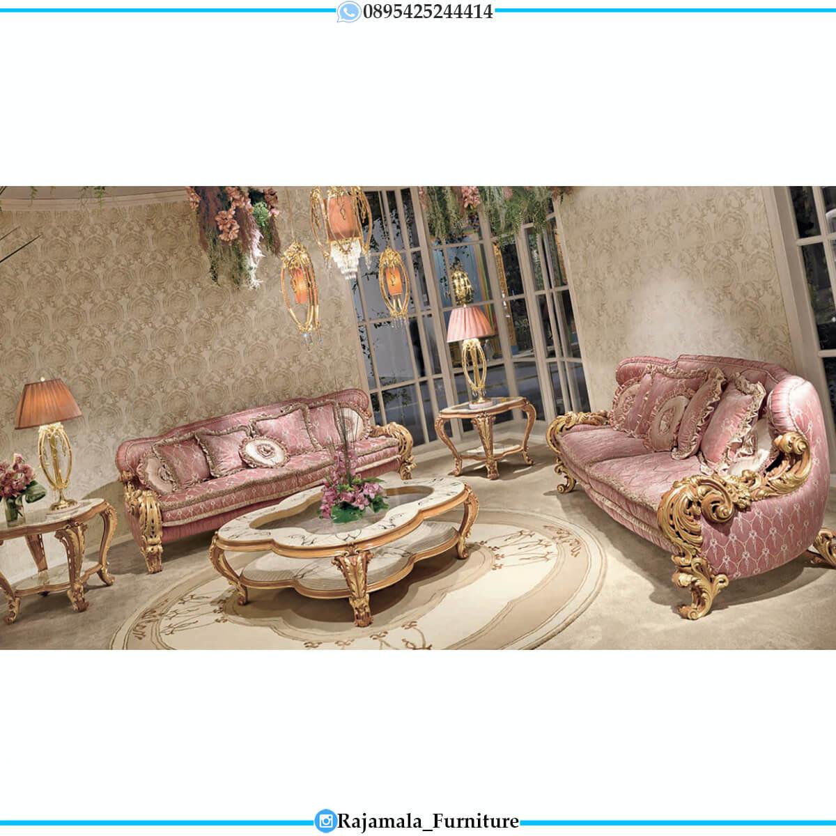 Sofa Tamu Mewah Ukiran Jepara Italian Baroque Style Elegant Golden Color RM-0746