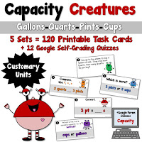 Capacity Creatures Task Cards and Google Links