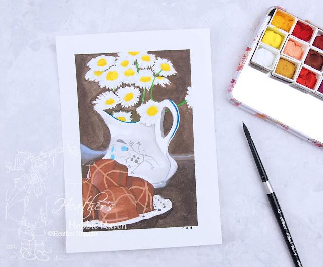 Heather's Hobbie Haven - Gouache Flower Vase and Chocolates